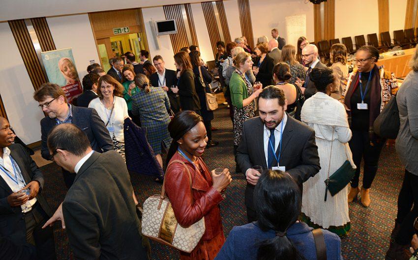Guests mingle at parliament reception