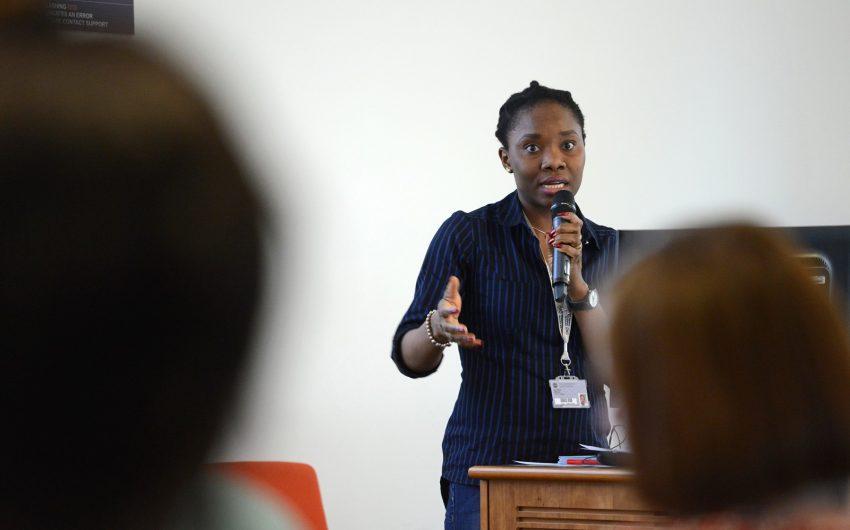 Oluyinka Opoola speaking at Agrifood event