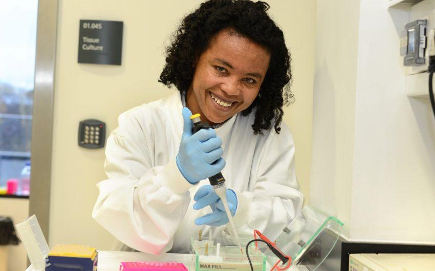 Wude Tsega in the lab