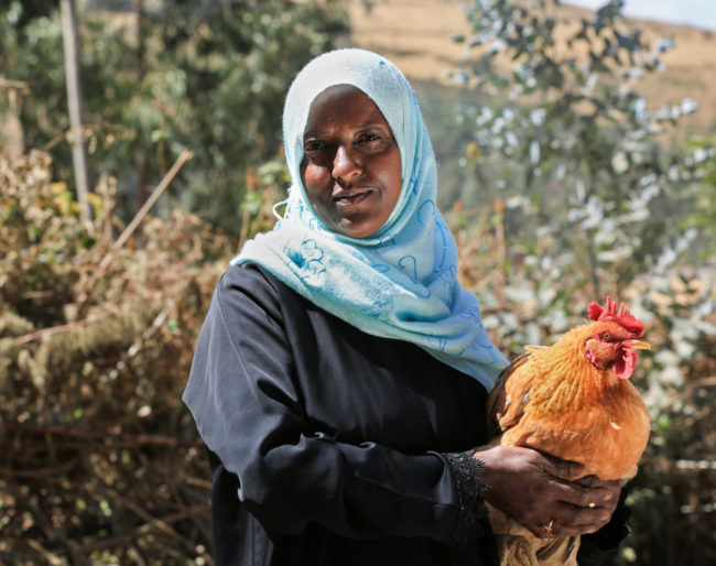 Ethiopian Woman with Chicken